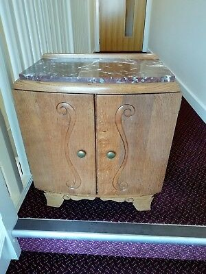 Antique French Cabinet Small/Bedside With Marble Top