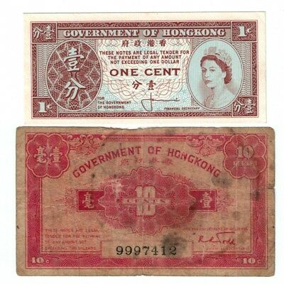 2x Government of Hong kong 10 & 1 Cents