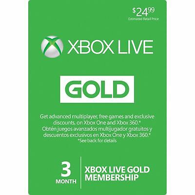 3 Month Xbox Live Gold Membership Microsoft Xbox 360 / Xbox One Instant Ship