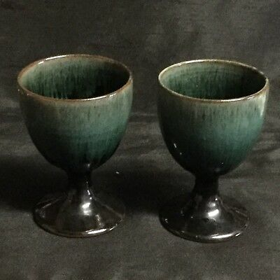 ⭐️ A Fab Pair Of 'Woburn Pottery' Ceramic Green & Brown Goblets ⭐️
