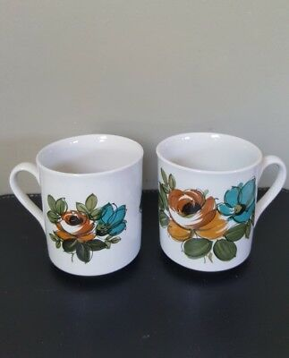 A Pair of Vintage Myott England Retro 70's Ceramic Small Coffee Mugs