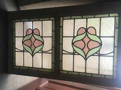 Original Stained  Glass  Panels  570 Mm By 970  Mm.