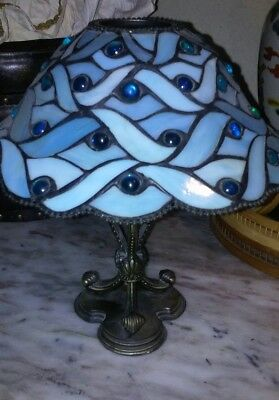 Vintage Party Lite Blue Spring water Tiffany style candle holder
