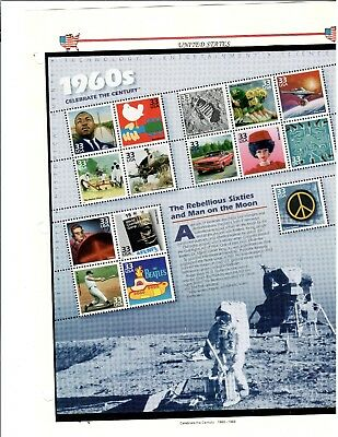 #3188 1999 33-cent Celebrate the Century - 1960's se-tenant sheet of 15