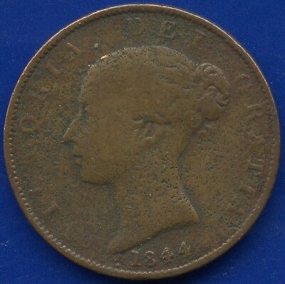 1844 Great Britain Half Penny Coin