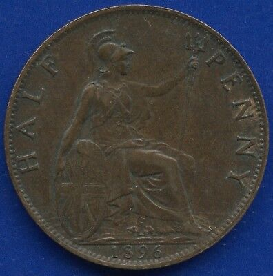 1896 Great Britain Half Penny Coin