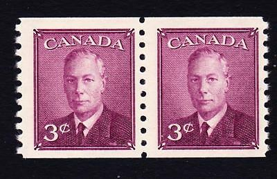 Canada MLH 1949 sc#296 KGVI 3¢ coil pair, without postes