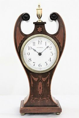 LOW RES LOVELY ELKINGTON ART NOUVEAU MAHOGANY 8 DAY INLAID MANTLE CLOCK Cir 1900