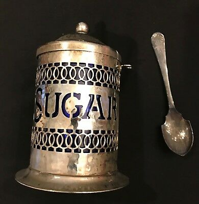 Vintage Hammered Silverplate Sugar Canister W / Cobalt Insert & Spoon - England
