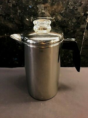 Nos Vtg Farberare 8 Cup Stainless Steel Stove Top Coffee Pot Percolator Camping
