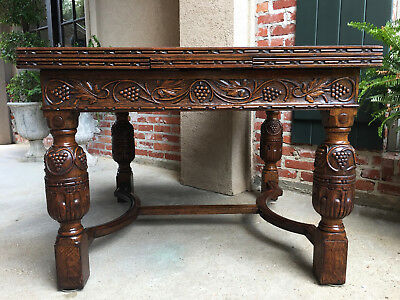 Large Antique English Carved Tiger Oak Draw Leaf Dining TABLE Jacobean Square