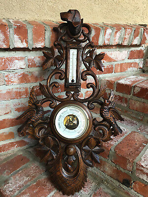 Antique French Carved Black Forest Dog Hound Hunt Barometer Bird Coat Hat Rack