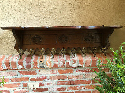 Large Antique French Carved Oak Wall Shelf Coat Hat Rack Farmhouse Kitchen Brass