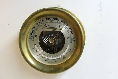 """Large Heavy Brass Holosteric Barometer with thermometer 7 1/4"""" Diameter Chelsea?"""