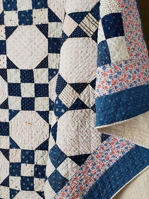 Never Used! c1910 Farmhouse Blues Antique Snowball QUILT