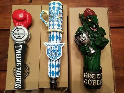 Draft Beer Tap Handle Lot of 3 Rare New in Box PBR Old Style 12 Rounds Goblin