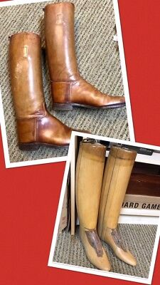 CUSTOM PAIR~PETER'S LEATHER RIDING BOOTS W/ ANTIQUE FORMS / LASTS ~Sz 8.5D~OOAK!