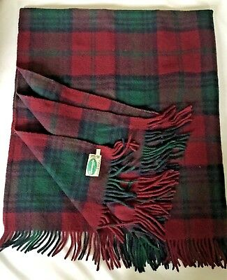 "VTG CONNEMARA Rug 100% Irish Wool Blanket Large Throw 59"" X 66"" Lindsay Plaid"
