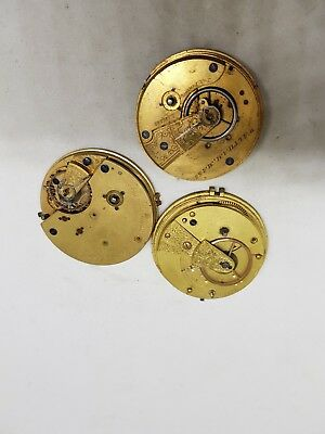 Three Antique Pocket Watch movements Inc fusee and Waltham SPARES Steampunk
