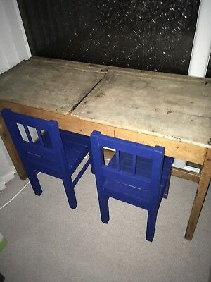 Lovely Old Vintage Antique Wooden Double School Desk With 2x Blue Wooden Chairs