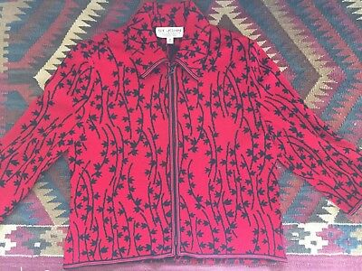 St. John by Marie Grey size 8 sweater jacket with zipper 3/4 sleeves