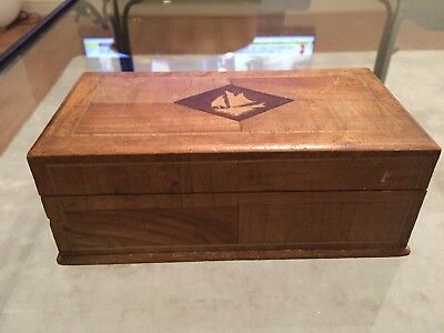Collectible Antique  Inlaid Wood Ship Trinket Box Treen Woodwork Marquetry