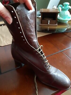 Antique Victorian Womens Brown Tall Lace Up Shoes Boots