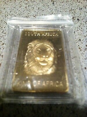 1 Oz .999 Fine Pure Gold Layered Steel Bar South Africa Lion and Krugerrand