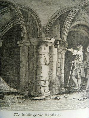 CITY OF CANTERBURY- INSIDE of the BAPTISTRY 17c GENUINE HISTORICAL PRINT KENT