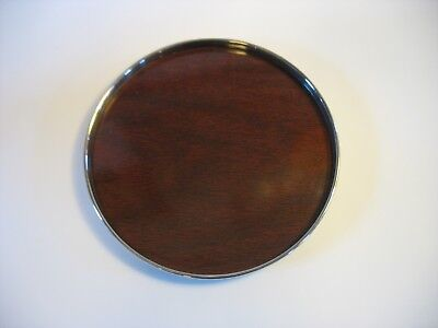 "Vtg Alvin Sterling Silver wood look Formica Tray S-246 Marked 6-3/8"" BARWARE"