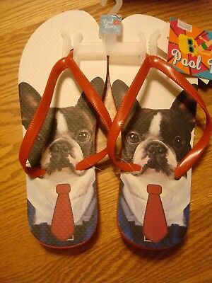 NWT Pool Party Flip Flops with French Bulldogs with Neck Tie Size Large