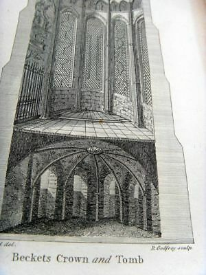 CATHEDRAL of CANTERBURY-BECKETS CROWN & TOMB 17c GENUINE HISTORICAL PRINT