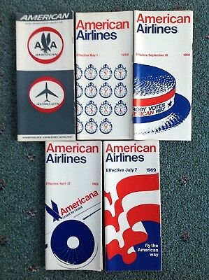 1968-1969 (5) American Airlines Timetables Vgc