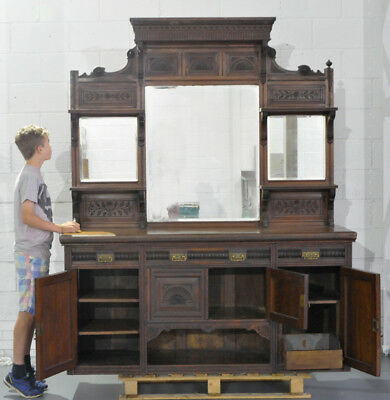 large antique dresser sideboard cupboard Victorian mahogany good mirrors