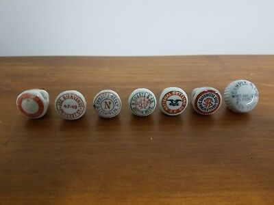 Vintage Beer Bottle Porcelain Stoppers and Cap - 7 Pieces