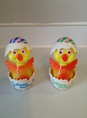 2 VINTAGE Friction EASTER UNLIMITED HARD PLASTIC ROLLING CHICK IN EGG HONG KONG