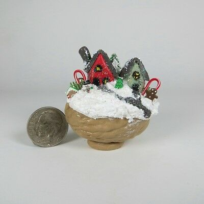 Miniature Handmade Fairy Christmas House Scene In A Walnut Shell  OOAK by O'Dare
