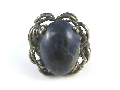 Vintage Sterling Silver Oval Blue Lapis Lazuli Wire Rim Border Ring Size 7 1/2