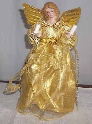 NEW  Pretty Lighted Gold Angel Tree Topper   10 ins. tall     Must See