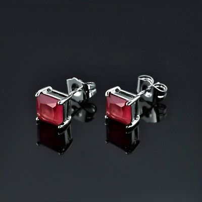 Wholesale Fashion White Gold Filled Red Princess Ruby Lady Stud Earring Jewelry