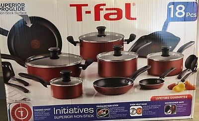 T-fal Initiatives Nonstick Inside and Out Dishwasher Safe 18-Piece Set Cookware