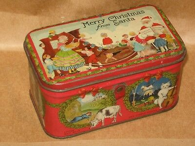 Antique Merry Christmas Candy Tin Great Graphics Nice Condition By Tindeco