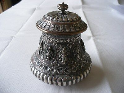 Antique South Indian Tanjore Ware Silver Inlay On Copper Vase 19Th Century ?