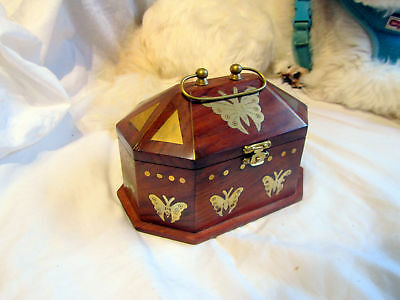 Vintage Indian Wood And Brass Inlay Butterfly Box