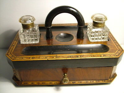 A  fabulous Victorian antique Tunbridgeware  desk stand with inkwells and drawer