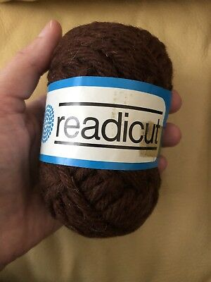 READICUT PURE NEW WOOL SIX FOLD RUG WOOL MADE IN ENGLAND 50g BROWN CHOCOLATE