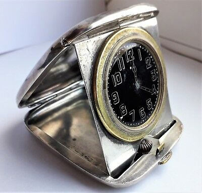 WWI Antique Large Solid Silver Cased Folding Travel Clock Hallmarked London 1915