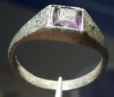 Medieval Bronze Ring Purple Stone