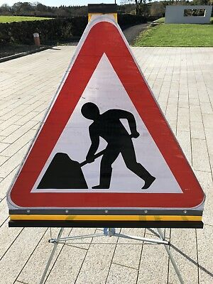 Roll Up Road Traffic Management Signs - 1 Men At Work Sign & Stand