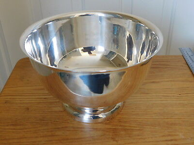 """English Silver Mfg Co, USA ~ LARGE Silverplated Serving Bowl, 9 3/4"""" ~ 6"""" Tall"""